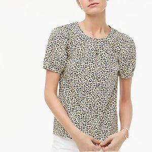 J. Crew Leopard puff-sleeve top